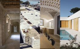 Collage interior i exterior edificis de l'exposició.