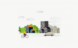 ilustració en flat design d'una ciutat.