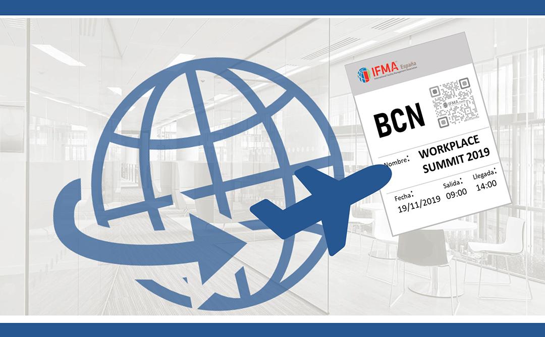 Bitllet aeroport de Barcelona amb unes oficines de fons.