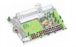Dibuix d'una mansió amb jardí
