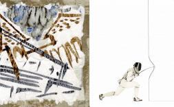Quadre art abstracte i persona fent esgrima